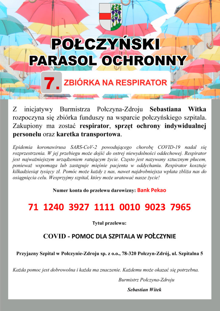 Połczyński parasol ochronny - zbiórka na respirator dla szpitala w Połczynie-Zdroju